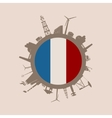 Circle with industrial silhouettes France flag vector image