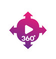 360 degrees panoramic video content icon vector image