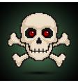 Pixel skull and crossbones vector image vector image