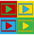 Pop art film strip icons vector image vector image