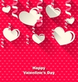 Valentines Day Background with Paper Hearts vector image
