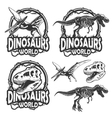 Set of dinosaurs world emblems vector image