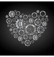 Love heart from tech metallic gears vector image vector image