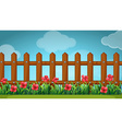 Scene with wooden fence in the garden vector image vector image
