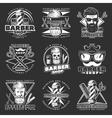 Barber Hipster Emblem Set vector image