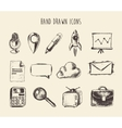 Collection Hand Drawn Doodle Network Icons Sketch vector image