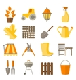 Flat design set of gardening tool icons vector image