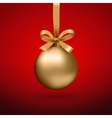 Gold Christmas ball with ribbon and a bow vector image