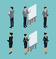 isometric business avatars vector image