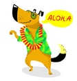 summer dog character cute pet dancing with vector image