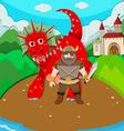 Viking and dragon on island vector image