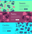 web banner template with flat style sweets vector image