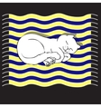 with cat on a striped mat vector image