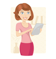 Business woman with tablet computer vector image