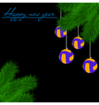 Volleyball balls on Christmas tree branch vector image