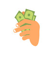 hand with money arm holding cash fingers and vector image