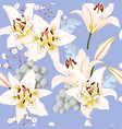 seamless pattern with white lilies vector image