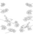 Titmouse on pine branch contour vector image
