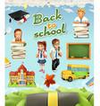 Back to school Education icon set Funny cartoon vector image