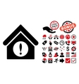Exclamation Building Flat Icon with Bonus vector image