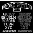 grunge serif font in the retro style of sport vector image