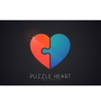 Puzzle heart Love logo design Heart logo design vector image