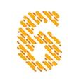 Striped latin alphabet number 6 Hatching font vector image