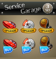 upgrade and buy parts icons for race game-set 3 vector image
