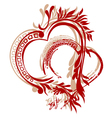 heart calligraphy vector image vector image