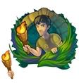 Man traveler in woods Maya Scientific expedition vector image