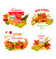 autumn sale symbol set of thanksgiving holiday vector image vector image