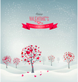 Holiday retro background Valentine trees with vector image