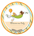 little girl siting in a pea been baby announcement vector image