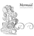 Mermaid black and white patterns vector image
