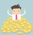 Businessman sitting in a pile of gold coins vector image
