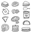 Doodle of food on white backgrounds vector image