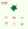 flat icon nature set of cancer medusa shark and vector image