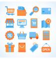 Flat icon set of shopping symbols vector image