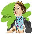 girl making selfie with smartphone doodle vector image