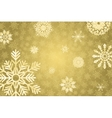 Golden winter bakground with crystallic snowflakes vector image