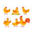 happy hen cartoon character in different poses vector image