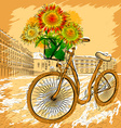 Retro Bicycle with Sunflowers vector image
