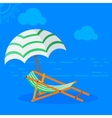 sun bed on beach vector image