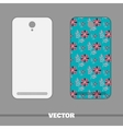 Phone Cover Flowers On Blue vector image