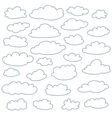 Cloud outlines set of cute simple shapes vector image