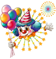 A clown with balloons and a firework display vector image vector image