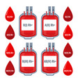 drops with typed blood groups and donating donor vector image