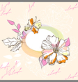 romantic background with flowers and butterfly vector image vector image