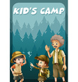 Kid going camping in the forest vector image