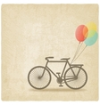 bike with balloons old background vector image